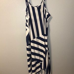 Blue and White high low dress